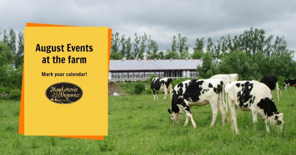 Promotional Image for August Events on the Farm.  View of barn from pasture.