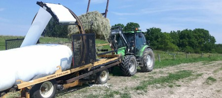 Wrapping the bales for baleage.